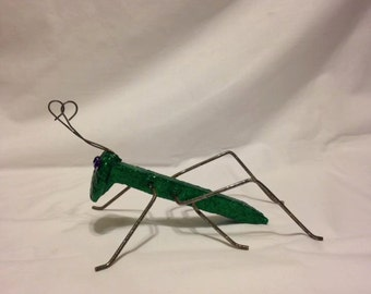 Cricket Garden Art / Railroad Spike / Rustic Grasshopper statue