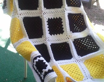 Crochete Black and Yellow Throw Pittsburgh Steelers