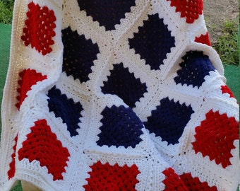 Crocheted Patriotic Red White and Blue Throw Blanket