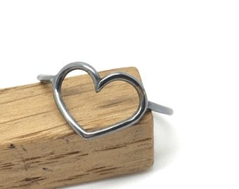 Sterling silver blackened heart ring, silver heart ring, oxidized heart ring, silver oxidized ring, black heart ring, heart ring, heart