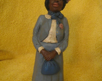 Black Americana Figurine Little Lady Dressed for Church Outing