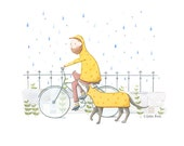Rainy Bike Ride A4 Print