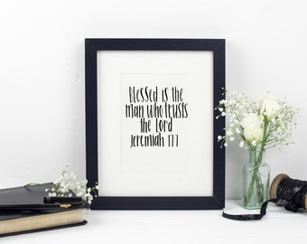 Blessed is the man who trusts - Wallprint Jeremiah 17:7