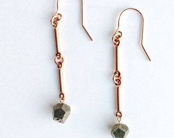 Pyrite & Copper Artefact Earrings