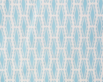 No. 8 Handprinted fabric panel light blue ink screen printed on off-white cotton