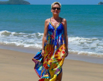 "Silk Dress Boho Style Gown - Made in Australia with artwork of Laurel Burch ""Harmony"""