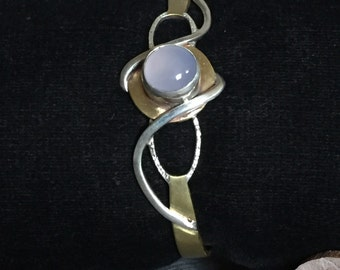 Brass and sterling silver Cuff with chalcedony