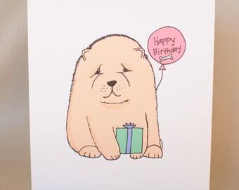Chow Chow Puppy Birthday Card, Greeting Card, Chow Greeting, Unique Card, Kawaii Card, Cute Card, Chow Chow Art, Dog lover card