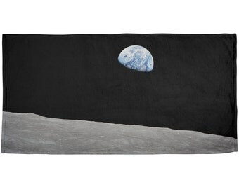 Earth Rising Over the Moon All Over Plush Beach Towel