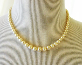 Vintage Faux Pearl Strand String Choker Necklace 18""