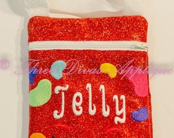 In the hoop zip bag- Shopkins Jelly Bean design