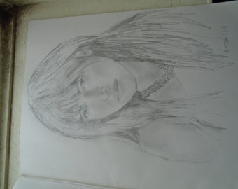 portrait pencil sketch Dakota Johnson