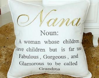 Nana Mema Glamma Grandma Pillowcase Embroidered Cushion cover,Grand Parents Pillow cover,Decorative Grandmother Gift Throw Pillow