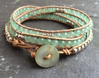 Adventurine Semi-Precious Leather Wrap Bracelet - Boho Wrap Bracelet - Gemstone Leather Bracelet