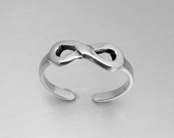 Sterling Silver Infinity Toe Ring, Midi Ring, Pinky Ring, Knuckle Ring, Adjustable Size