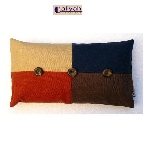 Yellow Blue And Brown Throw Pillows : Orange Yellow Blue and Brown Decorative Pillow Rectangle