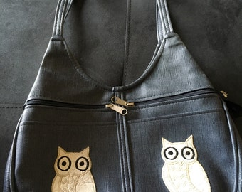 Vtg 1970s 1980s Owl Vinyl Denim Look Handbags by Jean Purse Shoulder Bag