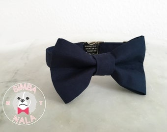 Royal Blue Bow Tie Collar for dogs/Plain Pattern/Dark Blue/Cute Bow Tie Dog Collar/Wedding Gift/Summer/Festive/Birthday
