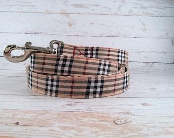 Ivory tan and black tartan custom made dog leash