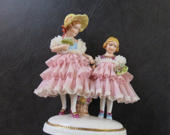 Dresden Porcelain Lace Figurines of Two Girls with bouquets vintage 1950