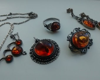 "Lot of vintage jewelry ""amber and Silver 925"""