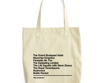 Wes Anderson - Movie Tote Bag - Gift for cinephile - The Grand Budapest Hotel - Moonrise Kingdom - The Darjeeling Limited - Rushmore