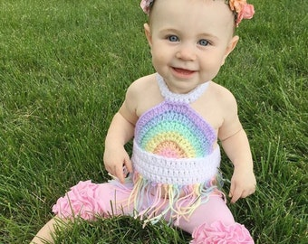 Rainbow Fringe Crop