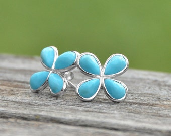 Blosson Turquoise Floral Stud Earrings | Flower Earrings | Stud Earrings | Turquoise Earrings| Boho Earrings | Turquoise Studs