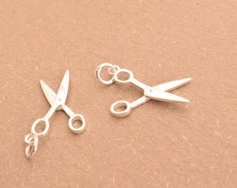 2 ps scissors charms clipper pendants charm pendant in sterling silver, LH1