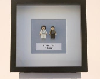 Star Wars Han Solo and Princess Leia mini Figures framed picture 25 by 25 cm