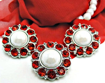 SHINY WHITE Pearl Buttons W/ Red Surrounding Rhinestone Buttons Acrylic Rhinestones Coat Buttons Button Bouquets Diy Craft 25mm 2997 38P 3R