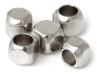 Silver Cube Beads