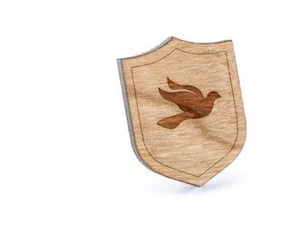 Dove Lapel Pin, Wooden Pin, Wooden Lapel, Gift For Him or Her, Wedding Gifts, Groomsman Gifts, and Personalized