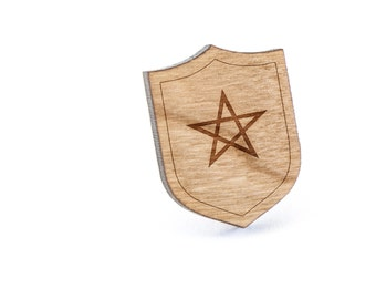 Pentagram Lapel Pin, Wooden Pin, Wooden Lapel, Gift For Him or Her, Wedding Gifts, Groomsman Gifts, and Personalized