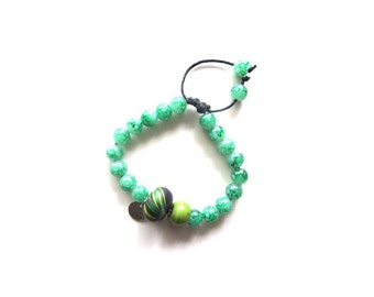 Green beads adjustable Bracelet