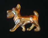 Scotty Dog Brooch- Celluloid Dog Brooch- Amber Celluloid Brooch- Vintage Amber Celluloid Jewelry- Figural Brooch- Kitsch