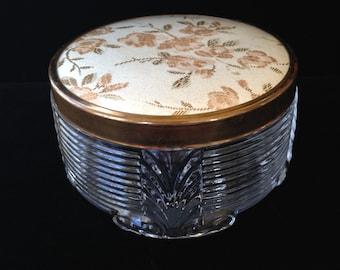Vintage Floral Cold Cream Jar- Vintage Floral Powder Jar- Boudoir Jar- Dressing Table Jar- Vanity Jar- Glass Jar With Floral Lid