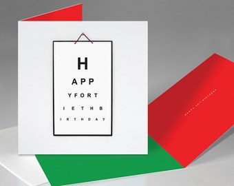 Happy 40th Birthday 'Eye Test Board' Card