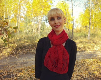 Soft Hand Knitted Red Scarf