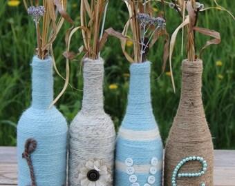Handmade LOVE jute and yarn wine bottle set