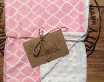 Pink/White Minky Baby/Toddler Blanket