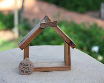 Handmade Wooden House Shaped Wall Hanging