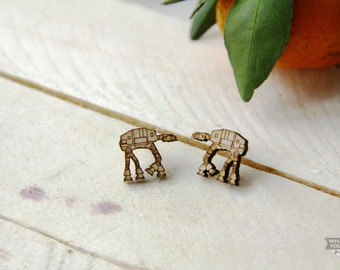 AT-AT Walkers Star Wars Wooden Earrings Stud Laser Cut