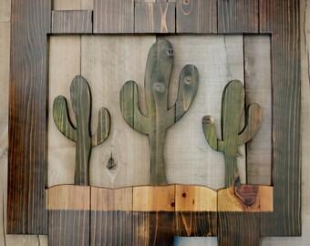 Wood Saguaro Cactus Picture