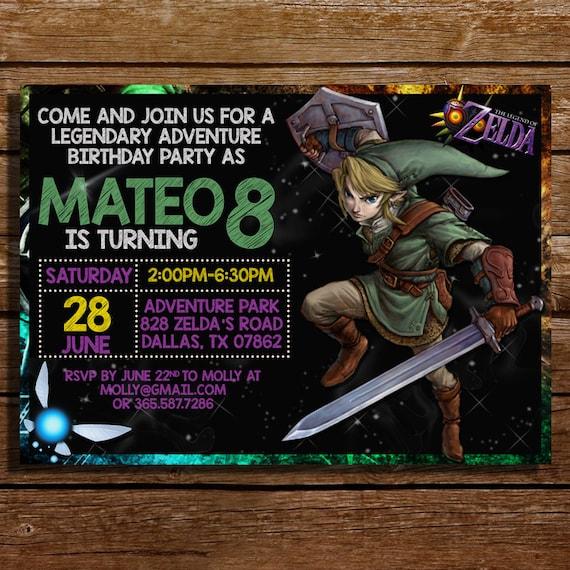 The Legend Of Zelda Birthday Invitation-The By CoralPartyDecor