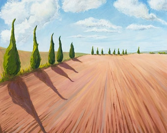 Cypress Trees, Tuscany, Italy, Contemporary, landscape, ploughed fields, terracotta, trees, green, scenery, oil painting, art, modern,