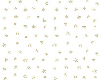 Riley Blake, When Skies are Gray by Simple Simon & Co.,Skies Star Gold, fabric by the yard