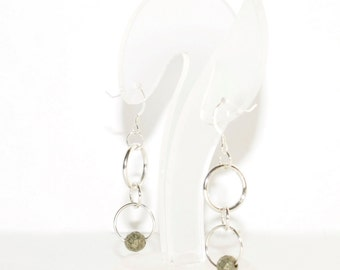 Earrings with pyrite balls