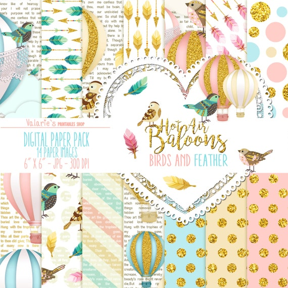 Hot Air Balloons Digital Paper Pack  Instant Download Printable Gold Glitter Bird Feathers Arrows Pink Blue Cream Baby Boy Girl 6x6""