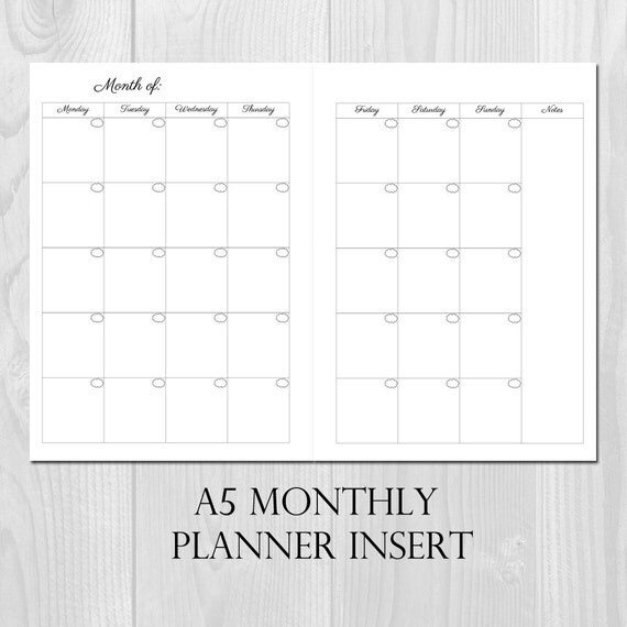 Monthly Planner Printable Insert A5 Size Undated Month On 2